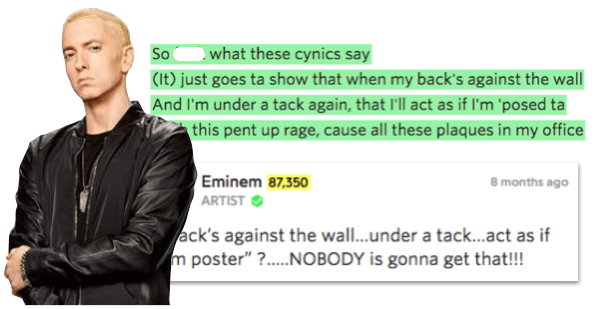 Eminem explains some of his lyrics for fans
